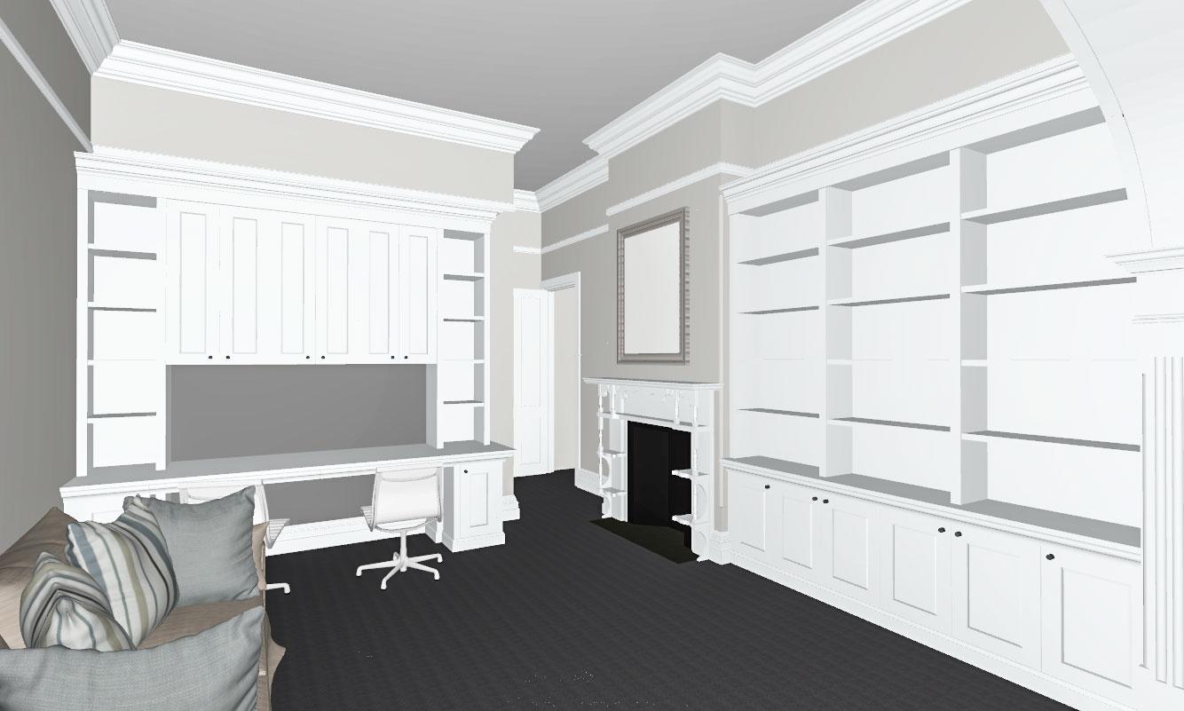 Built-in Study Desk, Bookshelf & Cupboard
