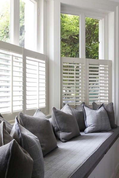 A half height plantation shutter is ideal above a window seat where you still want to allow plenty of natural light into the room.