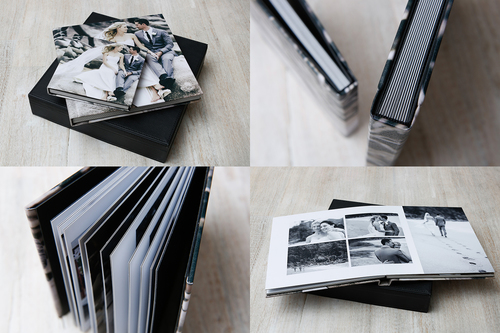 Flushmont albums have thick library bound pages printed edge to edge with no matts.   A contemporary solution to store and display your treasured photographs.