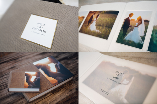 Deluxe albums combine both flushmount and matted pages. Several design options are available including cover embossing and translucent title pages.