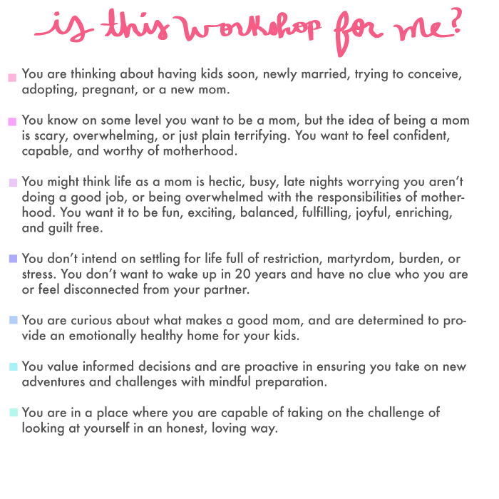 approaching motherhood, mom class, baby class, parenting class, conscious parenting