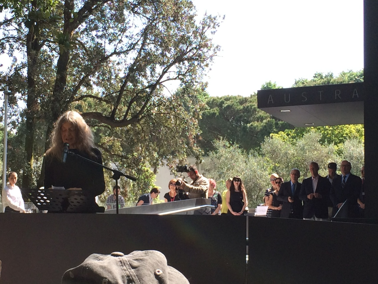 Fiona Hall delivers her speech at the opening of her show in Venice
