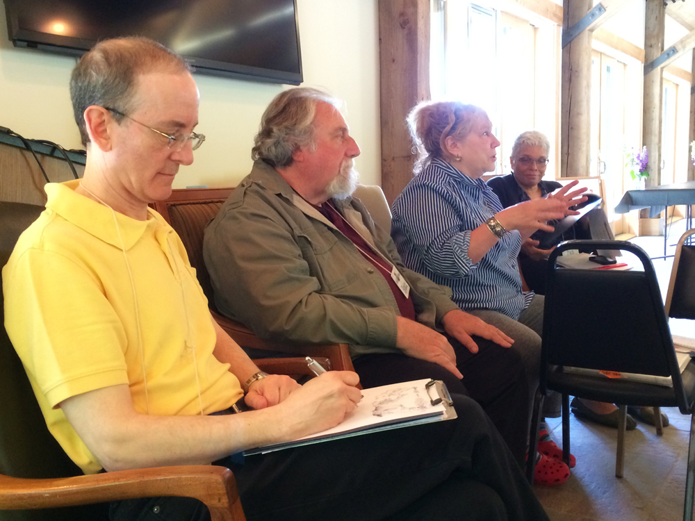 Our legendary faculty: Paul O. Zelinsky, Bruce Degen, Denise Fleming and Pat Cummings. I got to watch Paul doodle!