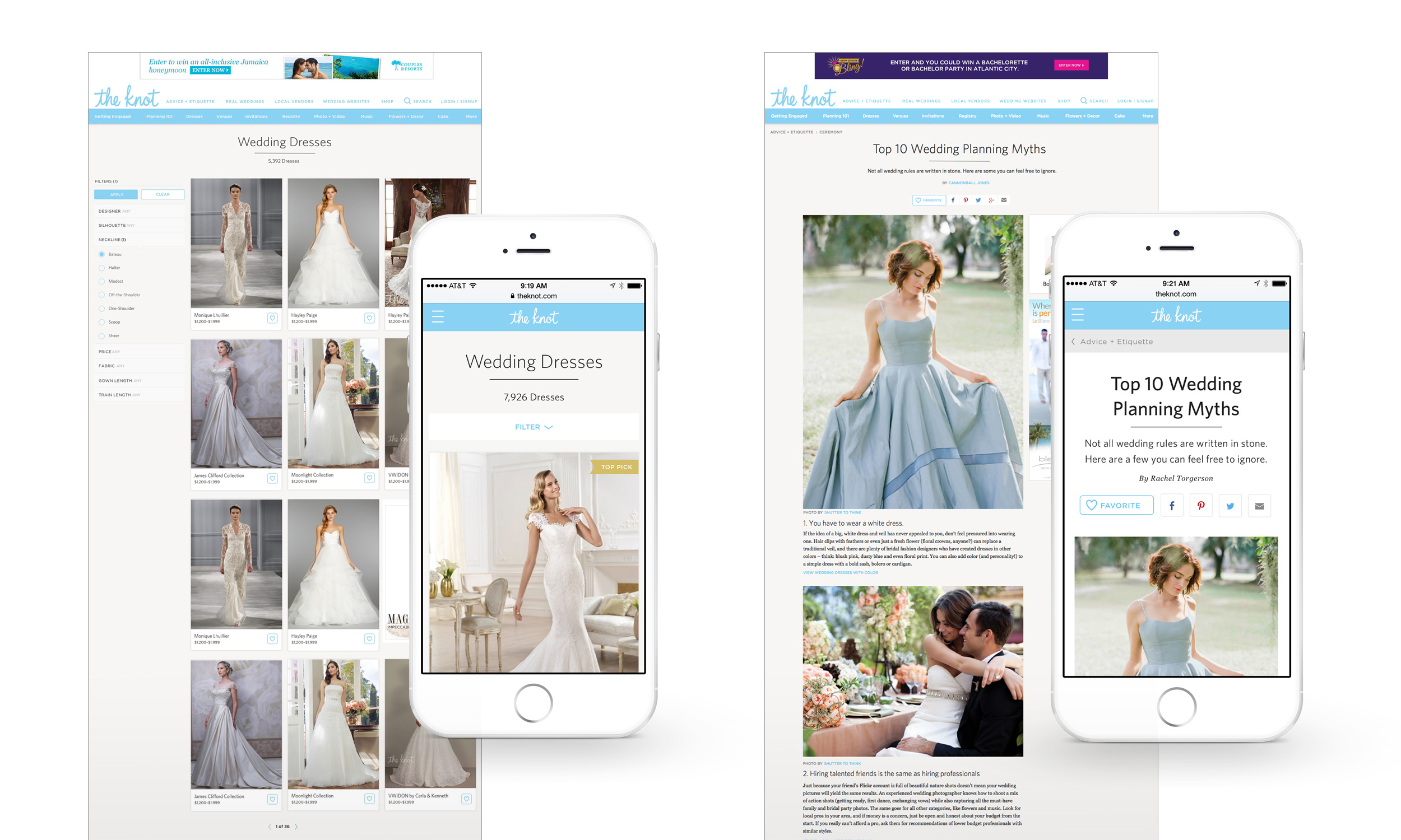Responsive layouts for Fashion Results Page and Article, large and small viewports