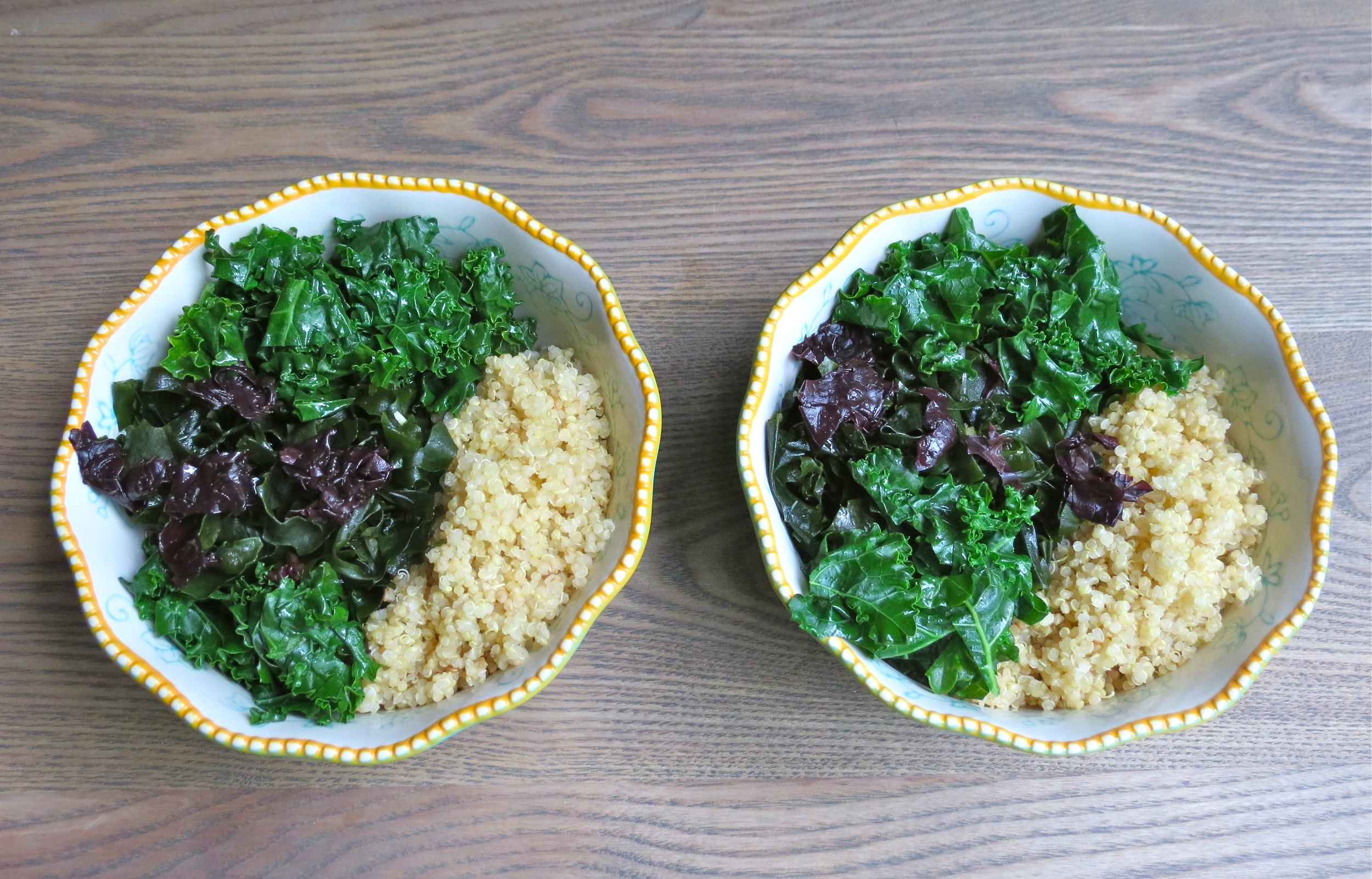 Starting to build the bowls- quinoa, kale, and seaweed.
