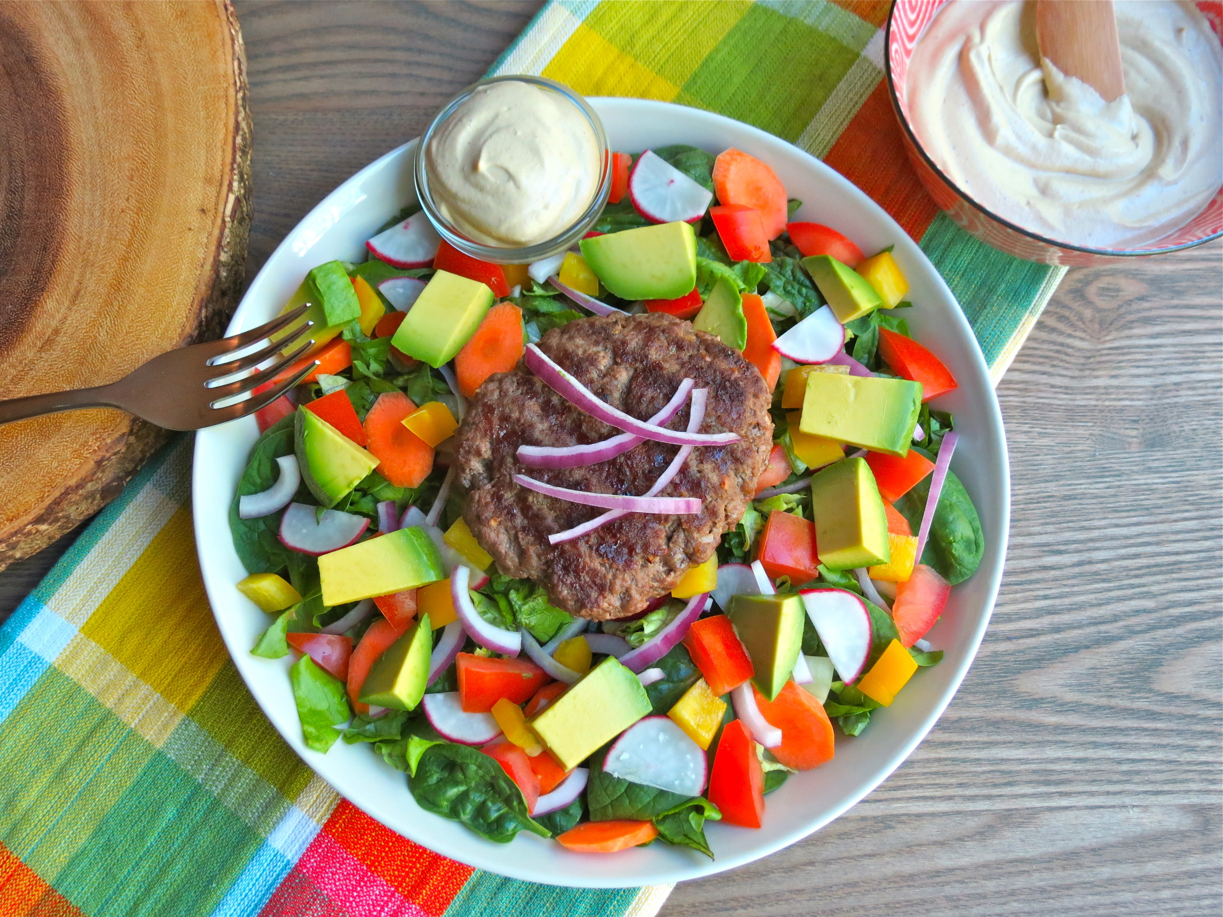 Grass-fed burger salad with Creamy Chipotle Cashew Cream.