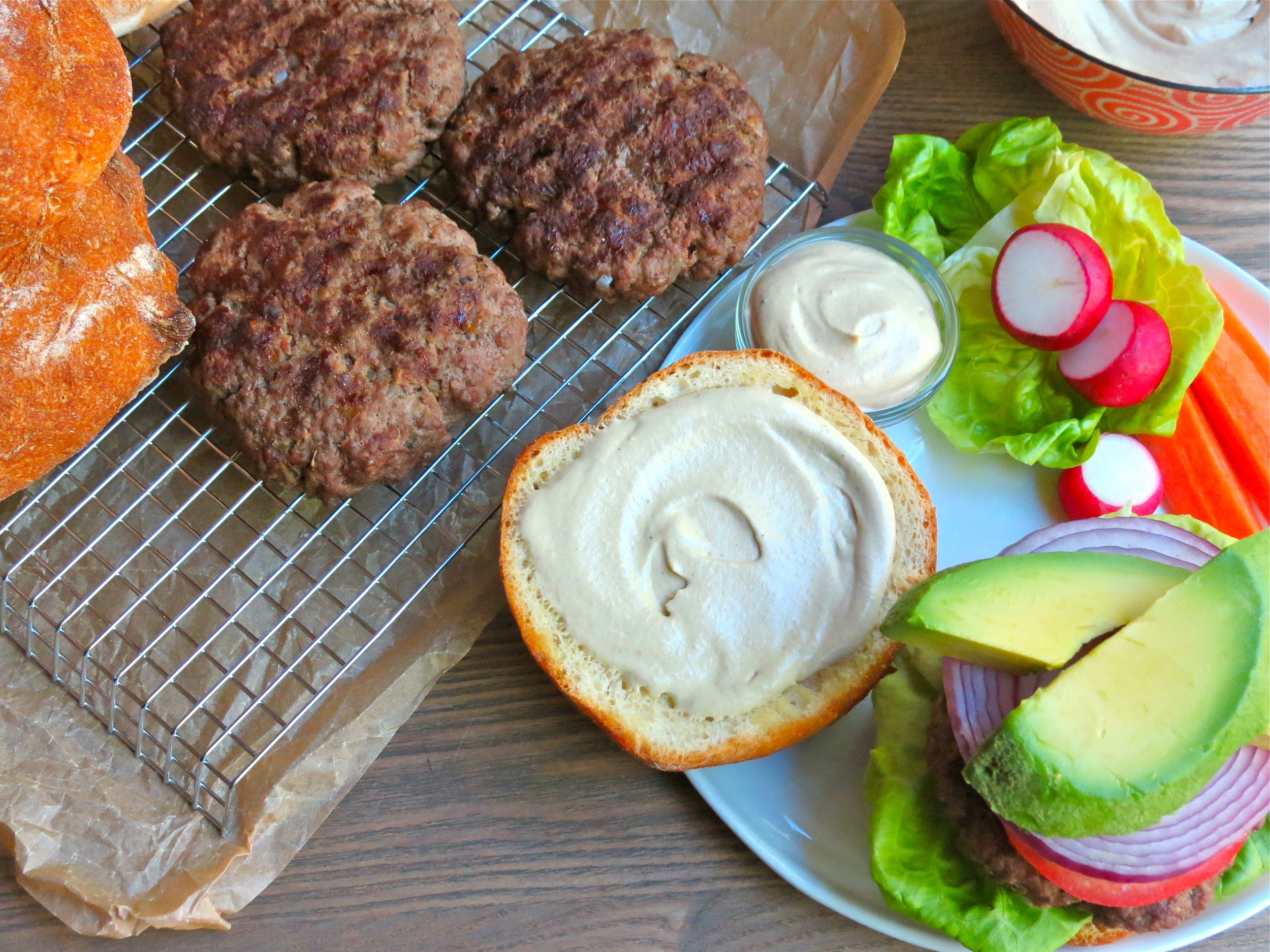 Spread some Creamy Chipotle Cashew Cream on your burger for a tasty finishing touch!