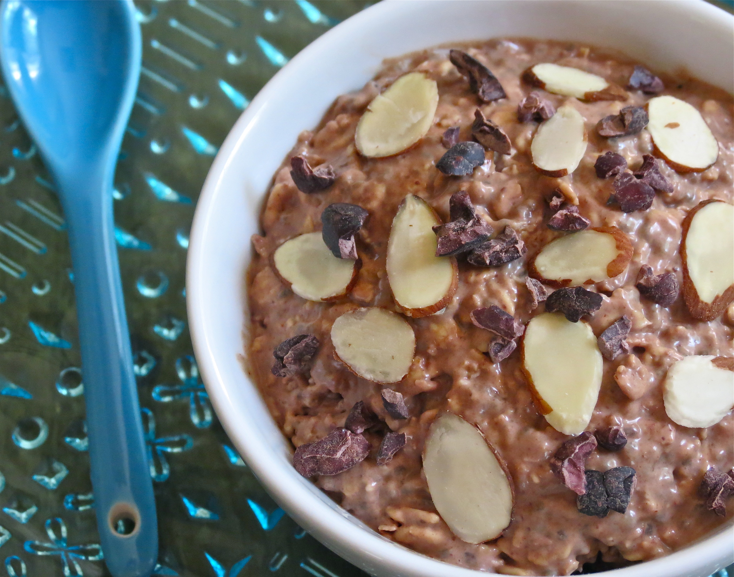 Chocolate Almond in a bowl (topped with some  cacao nibs )