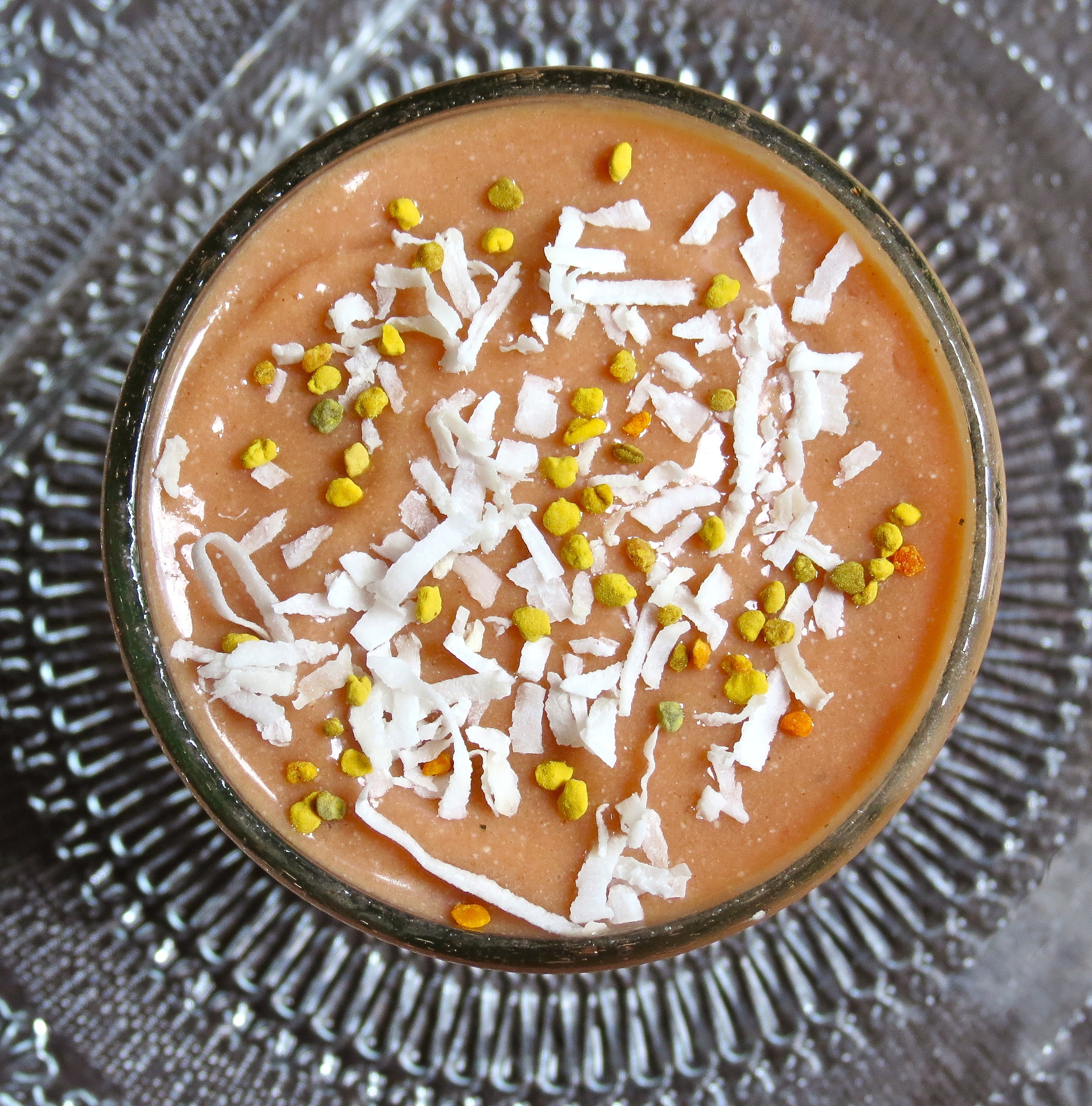 Topped with bee pollen and coconut. Ready to enjoy!