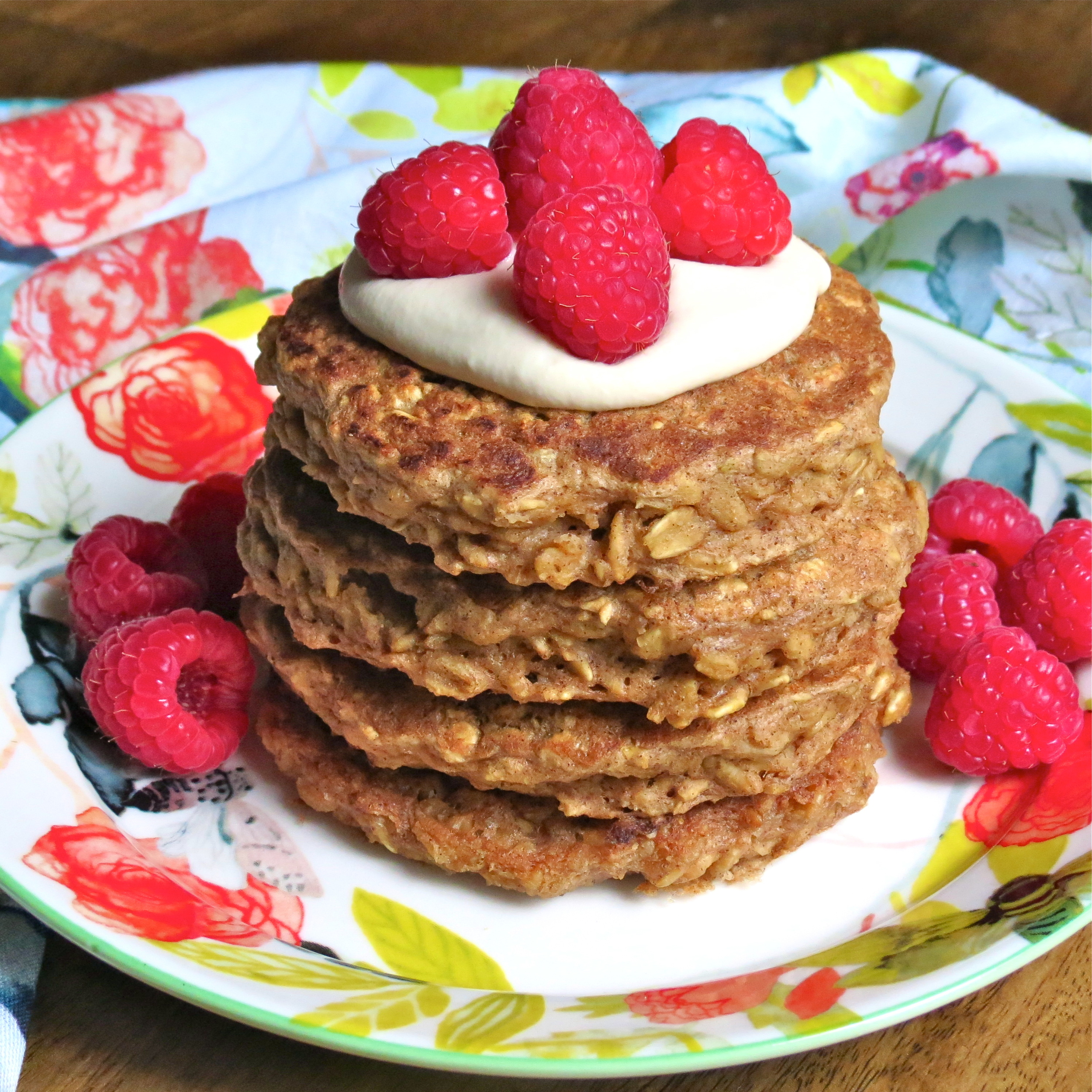 And now with some sweet cashew cream and fresh raspberries!