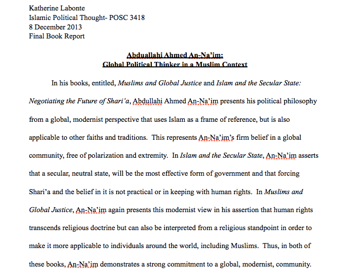 Islamic Political Thought Final Book Report