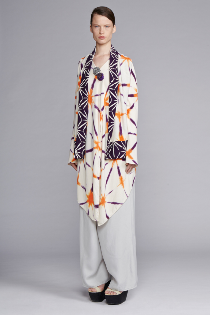 725/S141492NS Tails Jacket     740/S146135 Wrap Pants    900/S147484H Hand Painted Reversible Star Shibori Scarf