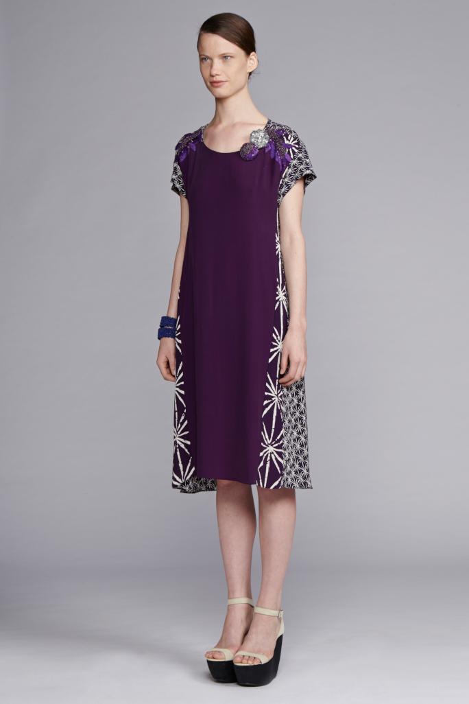 720/S141539 Panel Dress with Embroidery