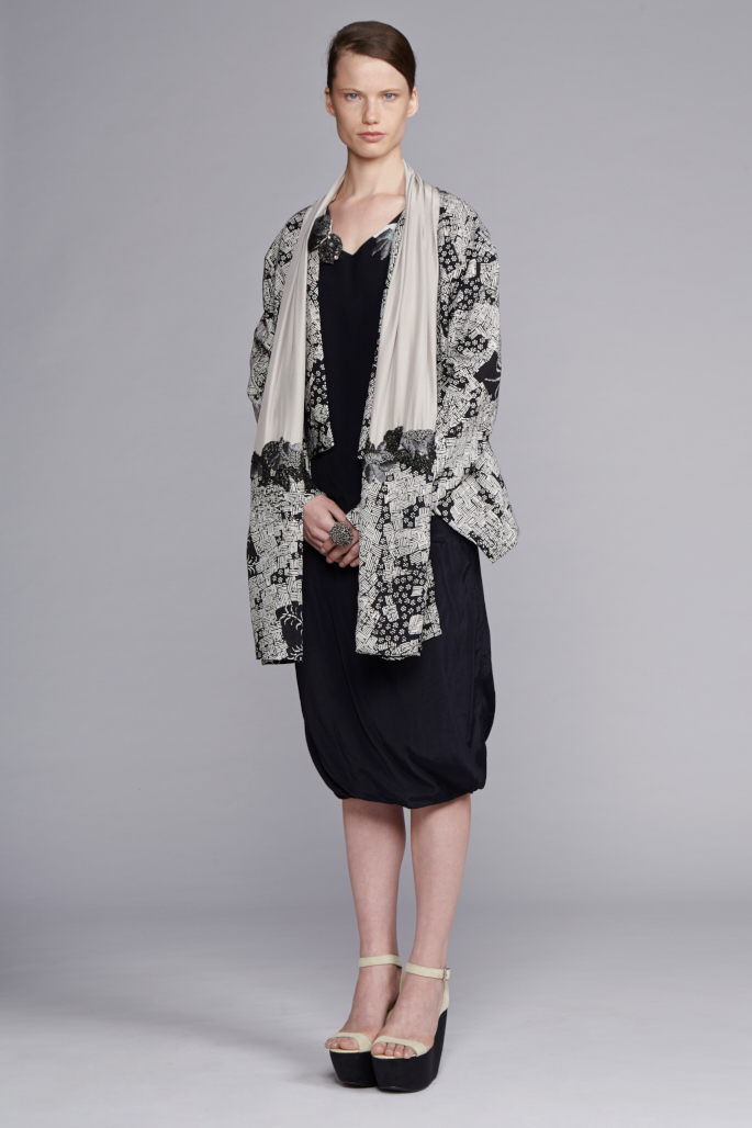 225/S143420E Panel Long Sleeve Top     740/S145230 Twisted Gathered Skirt     710/S148209 Printed Jacket