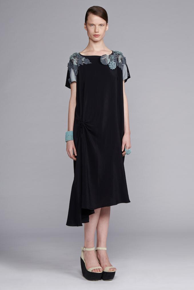 210/S141537B Spiral Shibori Beaded Shoulder Dress
