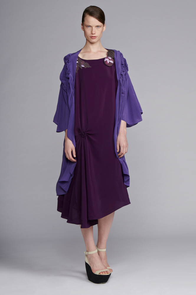 210/S141537E Spiral Shibori Beaded Shoulder Dress     530/S149060 Spiral Shibori Kimono Coat