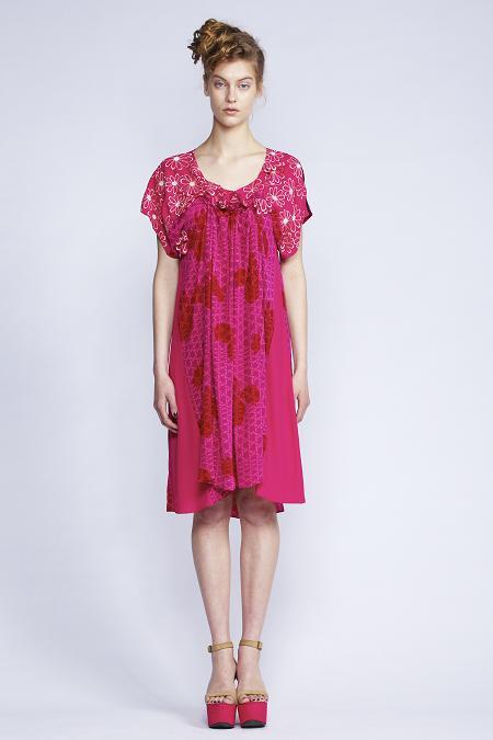 520/F131312 Spiral Shibori Sleeved Dress (without beads)