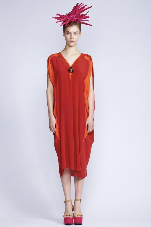 535/S131515 V-Neck Slash Sleeve Dress with Slip