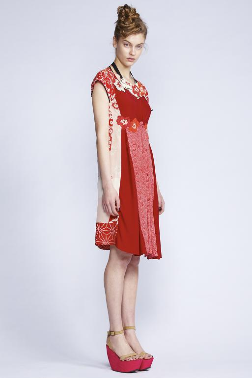 520/F130612B Patchwork Kimono Dress    900/F137448L Cherry Blossom Neckpiece