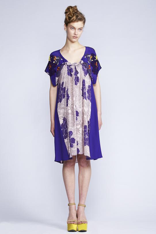 520/F131312B Spiral Shibori Sleeved Dress