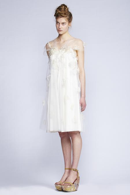 140/F131394 Spiral Shibori Neck Dress with Petal Applique