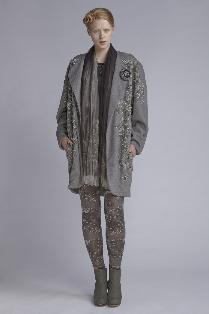 115/A143425B Beaded Long Sleeve Tulle Top  600/A146138 Leggings  850/A148211LB Coat (with beads)  900/A147503 Embellished Scarf