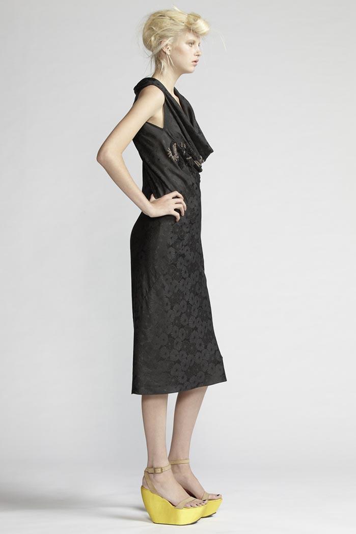 130/F21484 Beaded Curl Neck Bias Dress