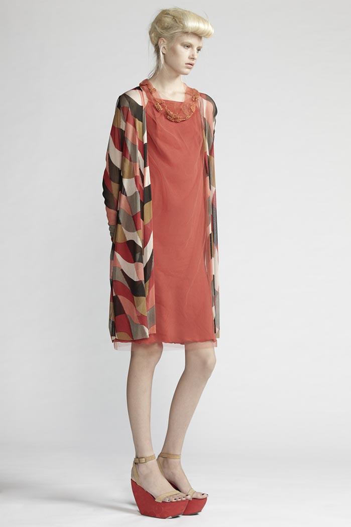 110/F21487 Beaded Curl Neck Dress    200/F28195P Printed Long Cardigan