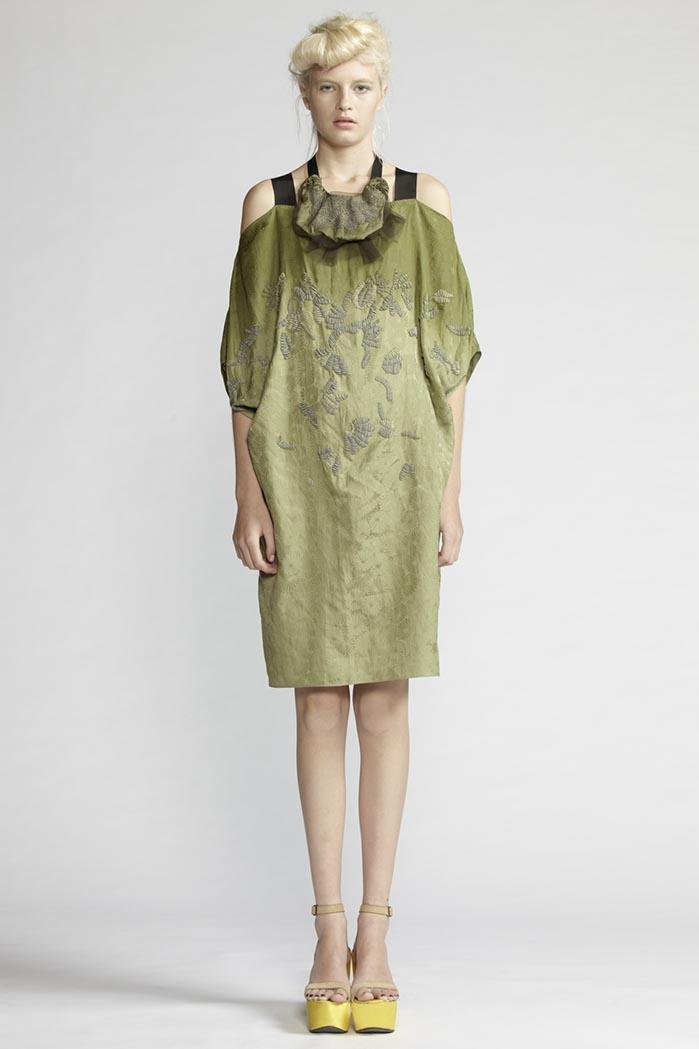 140/F21480 Beaded Shoulder Cutout Dress