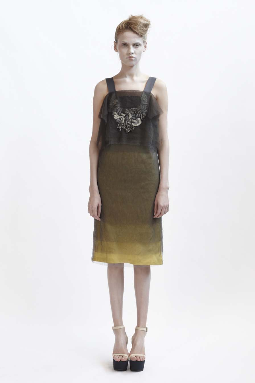 115/F01415 Layered Tulle Dress with Grosgrain Strap    140/F01426L Bias Mid Length Slip
