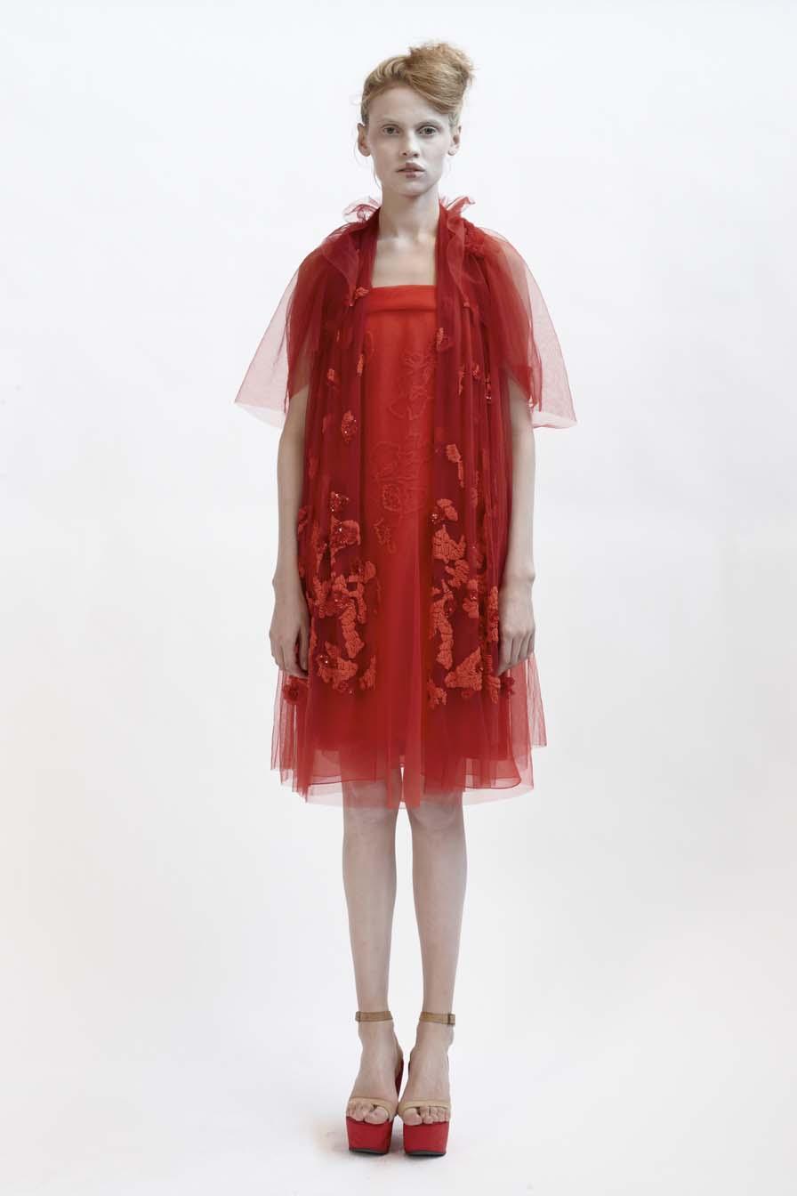 110/F01416 Silk Organza Tulle Dress with Grosgrain Strap    120/F02106R Spiral Shibori Tulle Bolero    140/F01426S Bias Short Slip    900/F07417 Beaded & Sequinned Shawl