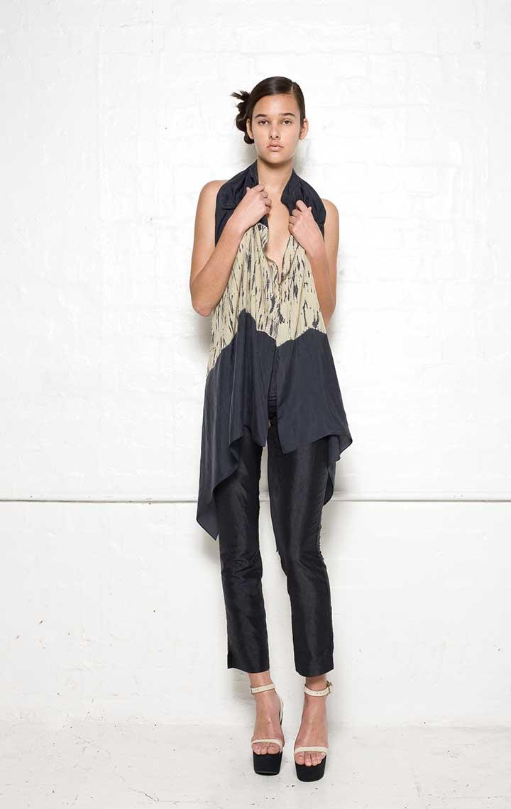 125/S02100 Spiral Shibori Scarf Vest    130/S06112A Narrow Pants