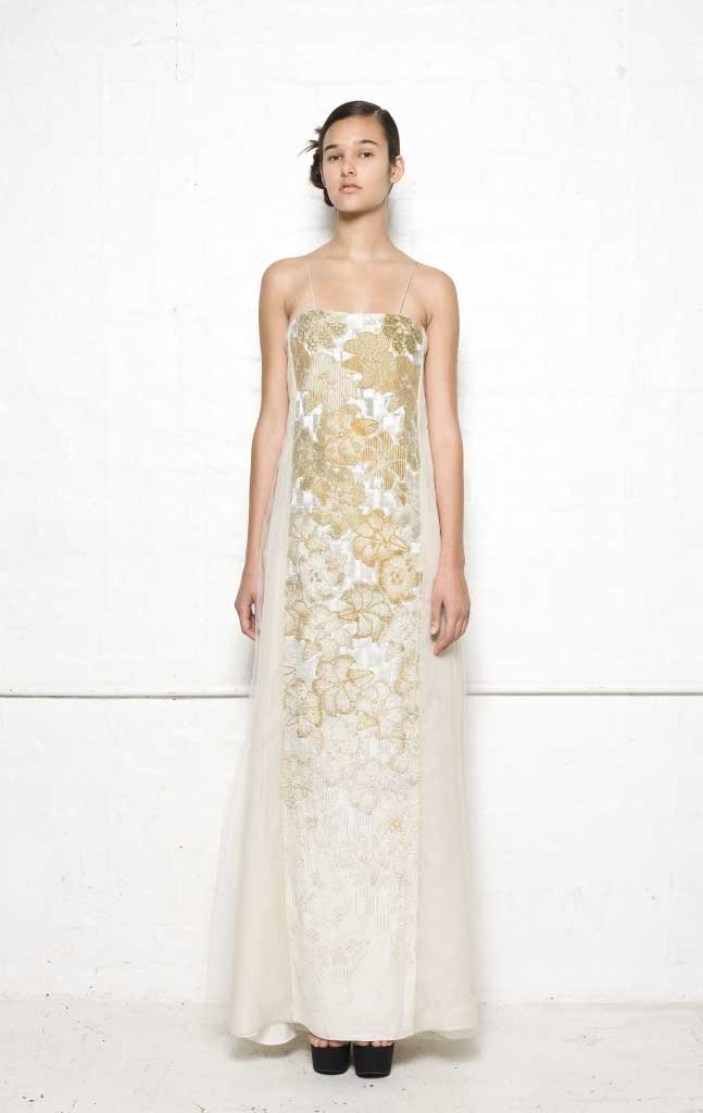 105/S01389 Long Strap Dress with Folded Back