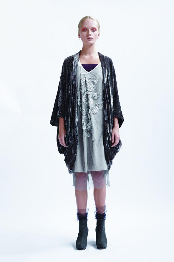 125/A01403 Tucked Neck Dress with Slash Armhole    225/A01399 Knee Length Strap Dress    155/A09074 Origami Kimono Coat