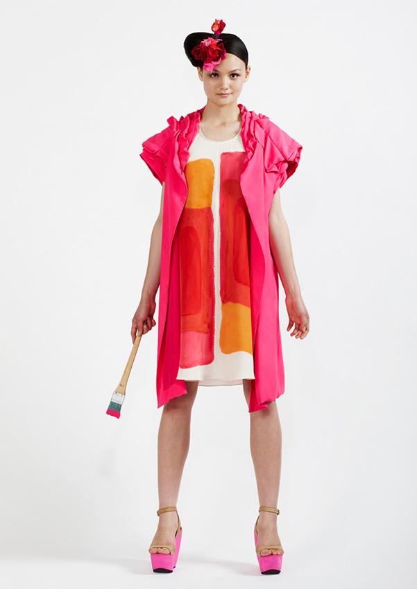 105/S91342S Hand Painted Silk Crepe Dress    1  10/S98158 Petal Jacket