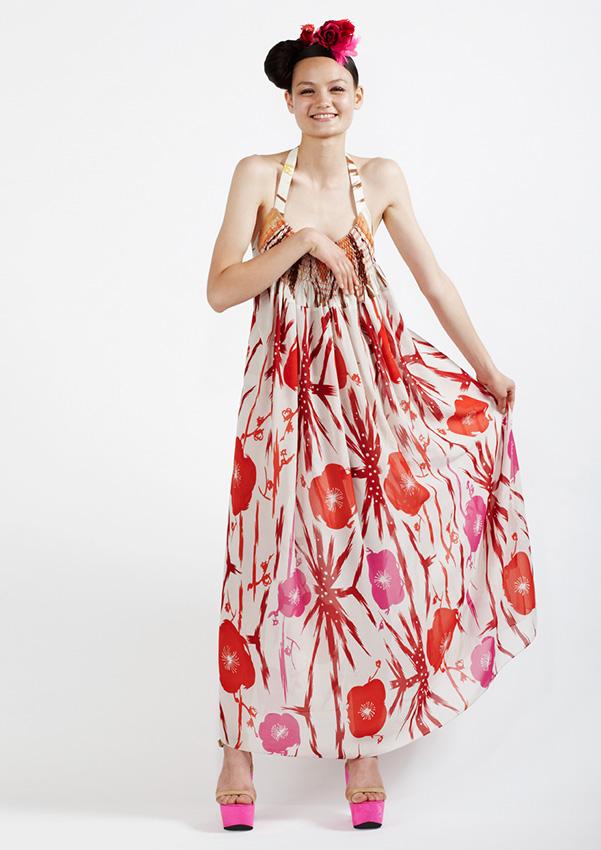 150/S91344 Printed Gathered Dress with Smocking