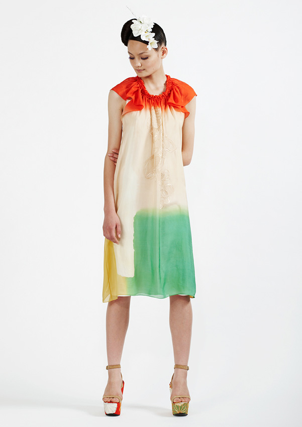 120/S91236 Hand Painted and Embroidered Dress with Slip