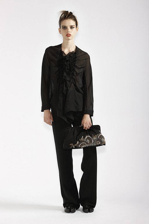 110/A94074 Origami Blouse     180/A96111 Mens Style Trousers    900/A97364 Fan Beaded Clutch Bag