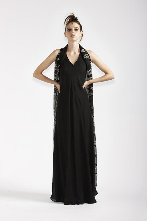 125/A91368 Long Bias Dress    125/A7368 Beaded Wrap