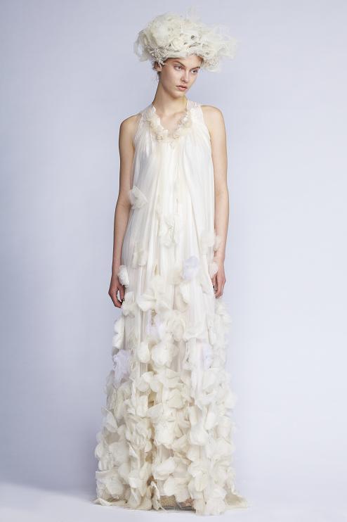 115/F131482 Spiral Shibori Neck Long Dress with Petal Appliqué