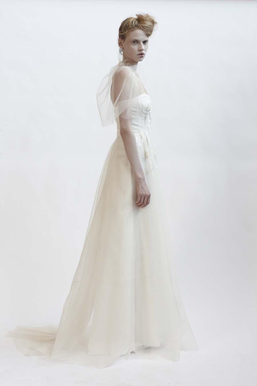 100/F01421 Strapless Silk Organza Fitted Dress    120/F02106R Spiral Shibori Tulle Bolero