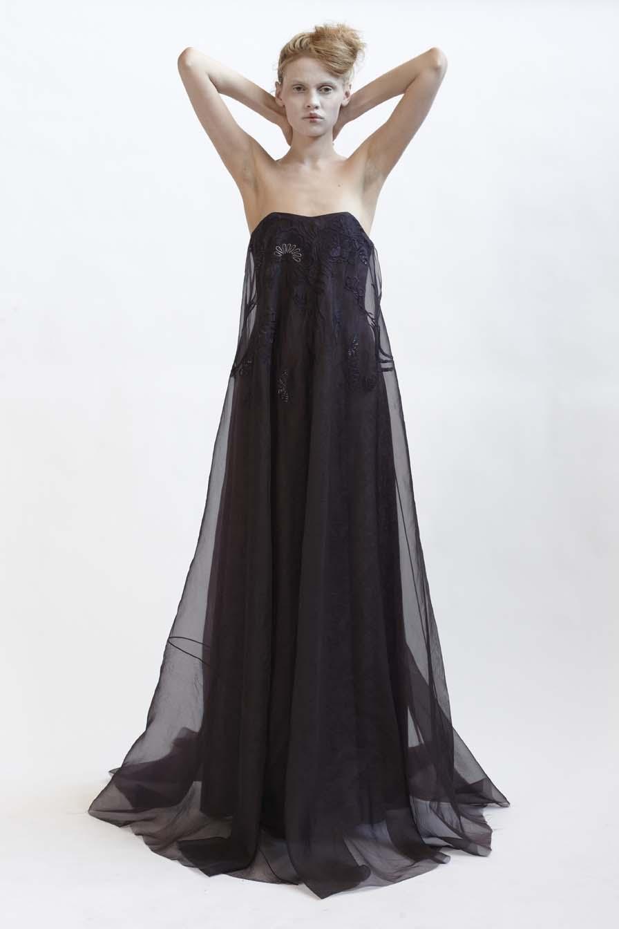 100/F01422 Strapless Silk Organza Dress