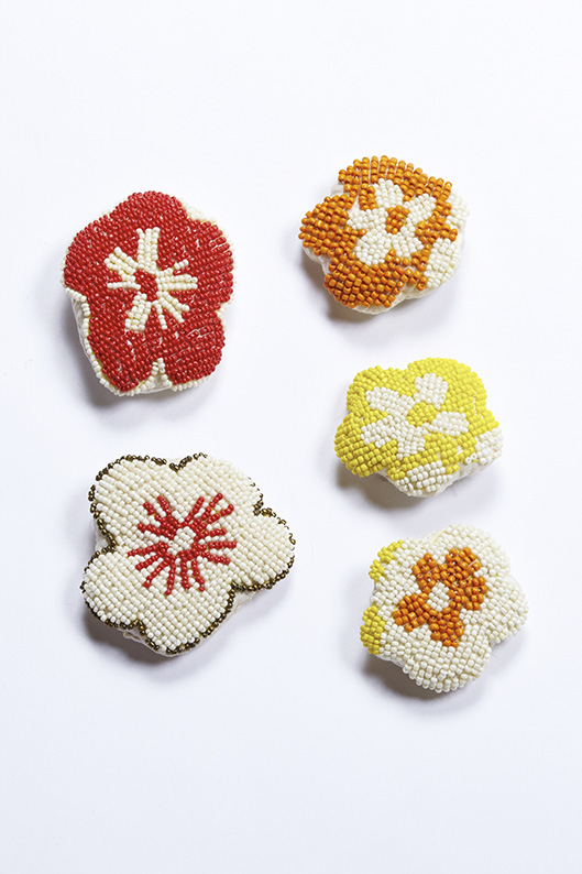 900/F137462 Cherry Blossom Brooch- Red, Ivory Red    900/F137461 Cherry Blossom Brooch Small- Orange, Yellow, Ivory