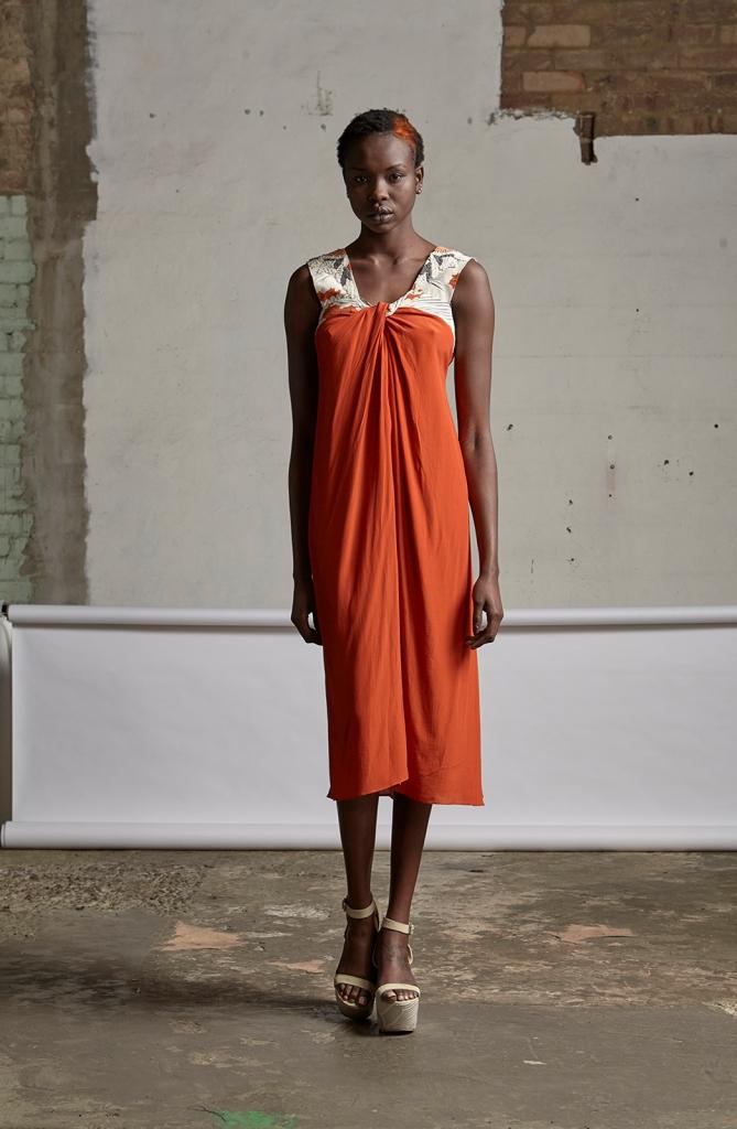 220/S151571B Strap Dress with Twist Neck with Beads