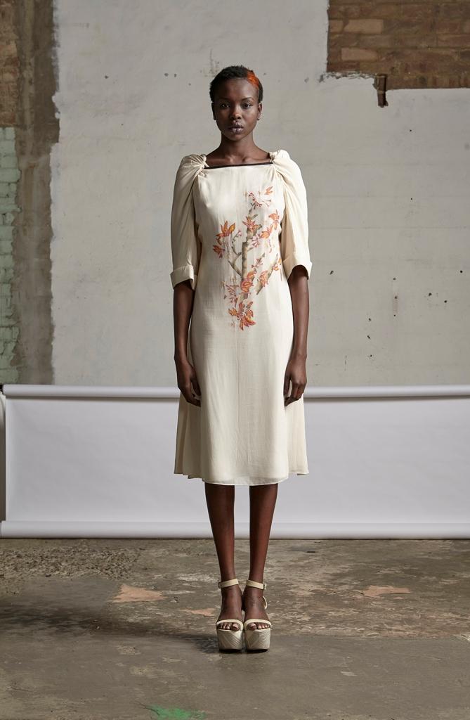 238/S151570 Hand Painted Twist Sleeve Dress