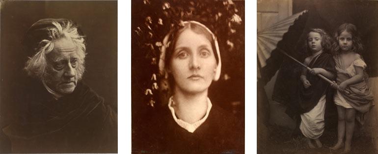 Left to right: Julia Margaret Cameron Portrait of Herschel 1867, Mrs Herbert Duckworth 1872, Paul and Virginia 1864. Victoria and Albert Museum, London © Victoria and Albert Museum, London
