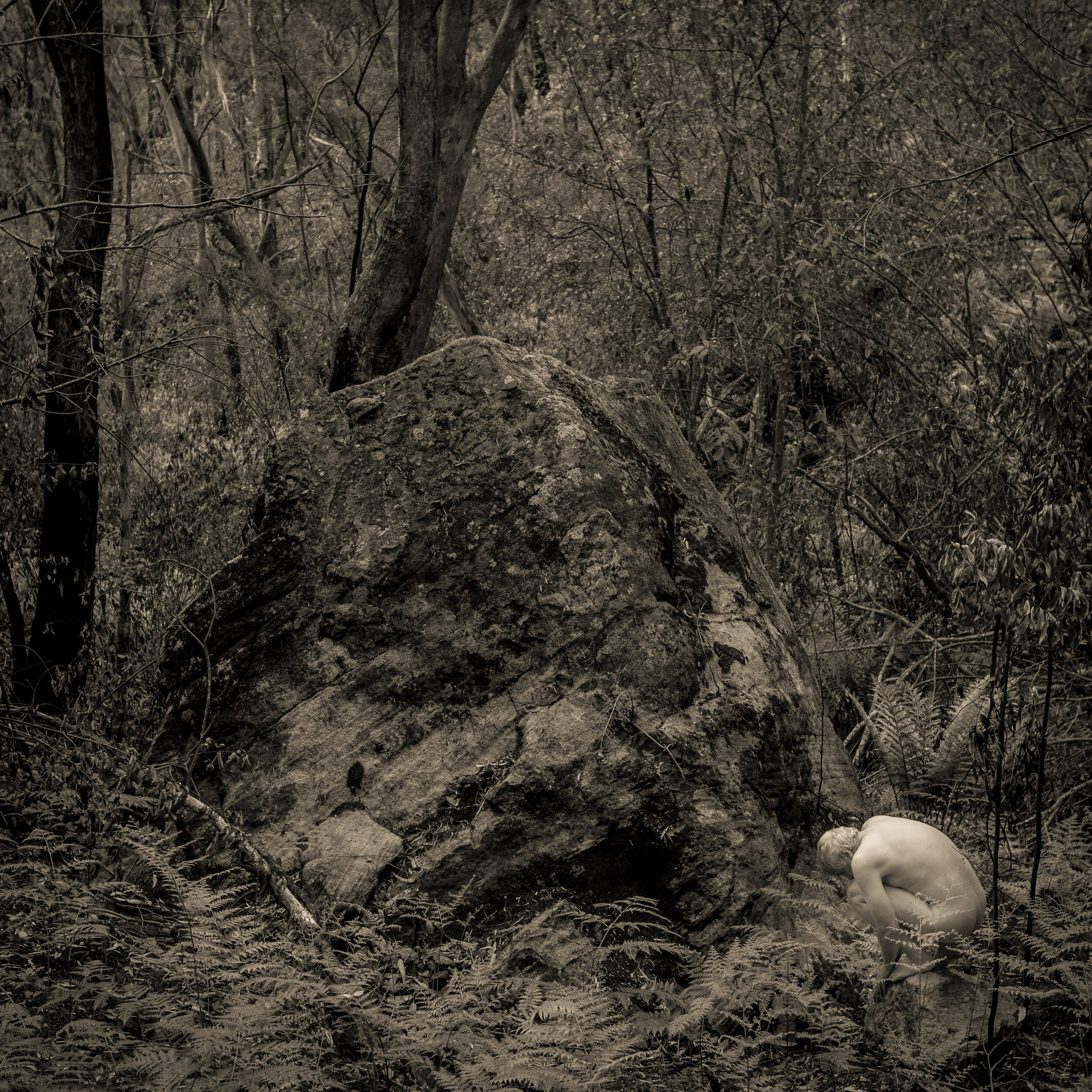 Eric and the Monolith - Flesh and Stone Series. In this series I am exploring the fragile soft and fleeting nature of human bodies and contrasting them with the hard and seemingly eternal nature of stone. As humans we are on the planet for such a short period of time, while geologically the stone lasts for millions of years. Our lives are a mere moment in their lifetime.