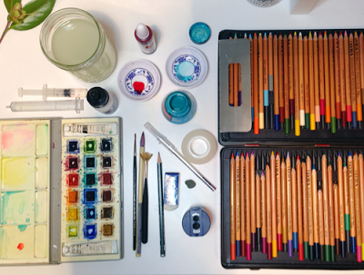 Art supplies used by Diana Toledano