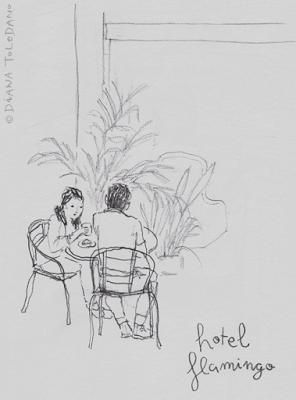 Travel sketchbook: a couple having breakfast in Cozumel