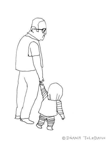 Sketch of a San Francisco grandpa with his grandkid by Diana Toledano